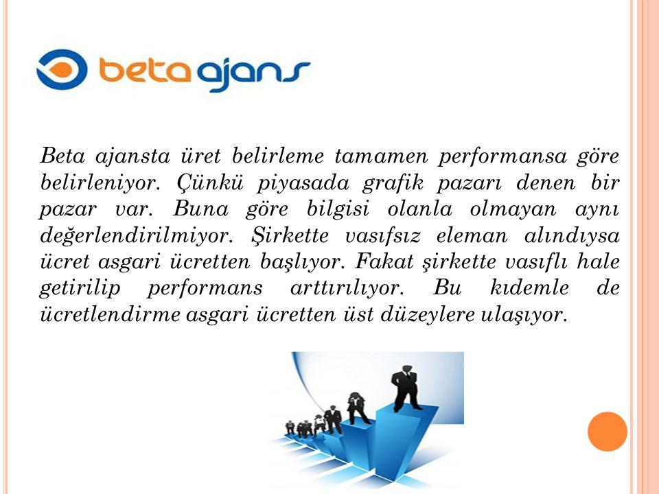 , Beta ajansta üret belirleme tamamen performansa göre belirleniyor.