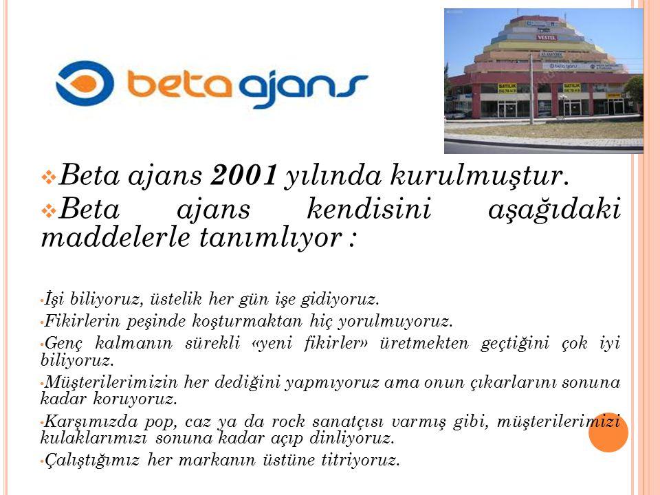  Beta ajans 2001 yılında kurulmuştur.