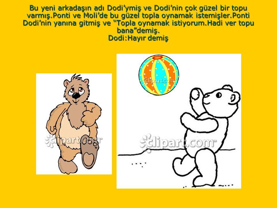 Bu yeni arkadaşın adı Dodi'ymiş ve Dodi'nin çok güzel bir topu varmış.Ponti ve Moli'de bu güzel topla oynamak istemişler.Ponti Dodi'nin yanına gitmiş