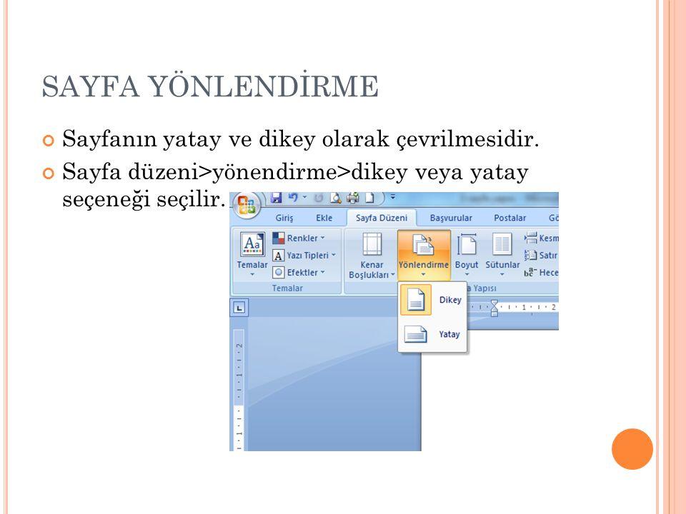 SAYFA YÖNLENDİRME Sayfanın yatay ve dikey olarak çevrilmesidir. Sayfa düzeni>yönendirme>dikey veya yatay seçeneği seçilir.