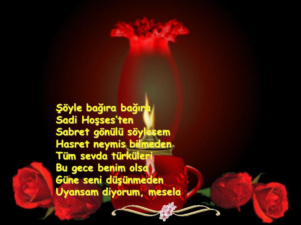 Şöyle bağıra bağıra Sadi Hoşses'ten Sabret gönülü söylesem Hasret neymis bilmeden Tüm sevda türküleri Bu gece benim olsa Güne seni düşünmeden Uyansam diyorum, mesela