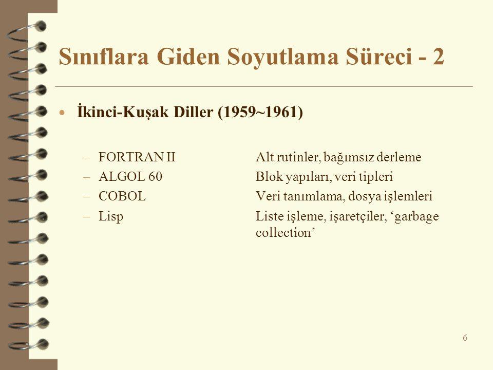 Sınıflara Giden Soyutlama Süreci - 2  İkinci-Kuşak Diller (1959~1961) –FORTRAN IIAlt rutinler, bağımsız derleme –ALGOL 60Blok yapıları, veri tipleri –COBOLVeri tanımlama, dosya işlemleri –LispListe işleme, işaretçiler, 'garbage collection' 6