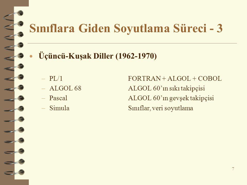 Sınıflara Giden Soyutlama Süreci - 3  Üçüncü-Kuşak Diller (1962-1970) –PL/1FORTRAN + ALGOL + COBOL –ALGOL 68ALGOL 60'ın sıkı takipçisi –PascalALGOL 60'ın gevşek takipçisi –SimulaSınıflar, veri soyutlama 7
