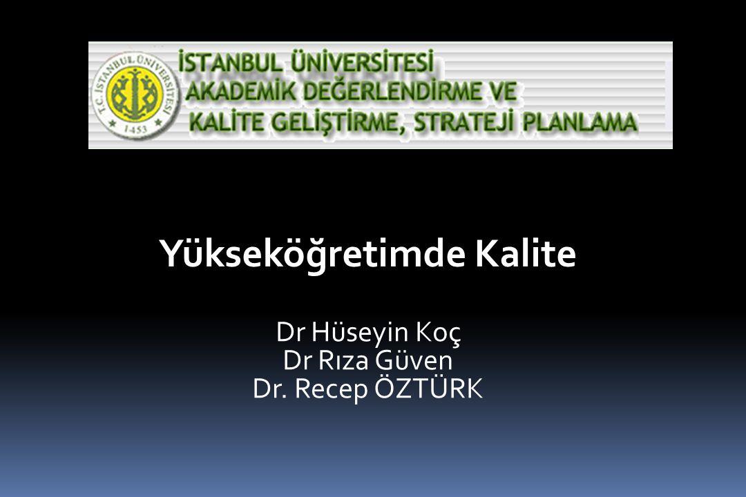 Yükseköğretimde Kalite Dr Hüseyin Koç Dr Rıza Güven Dr. Recep ÖZTÜRK