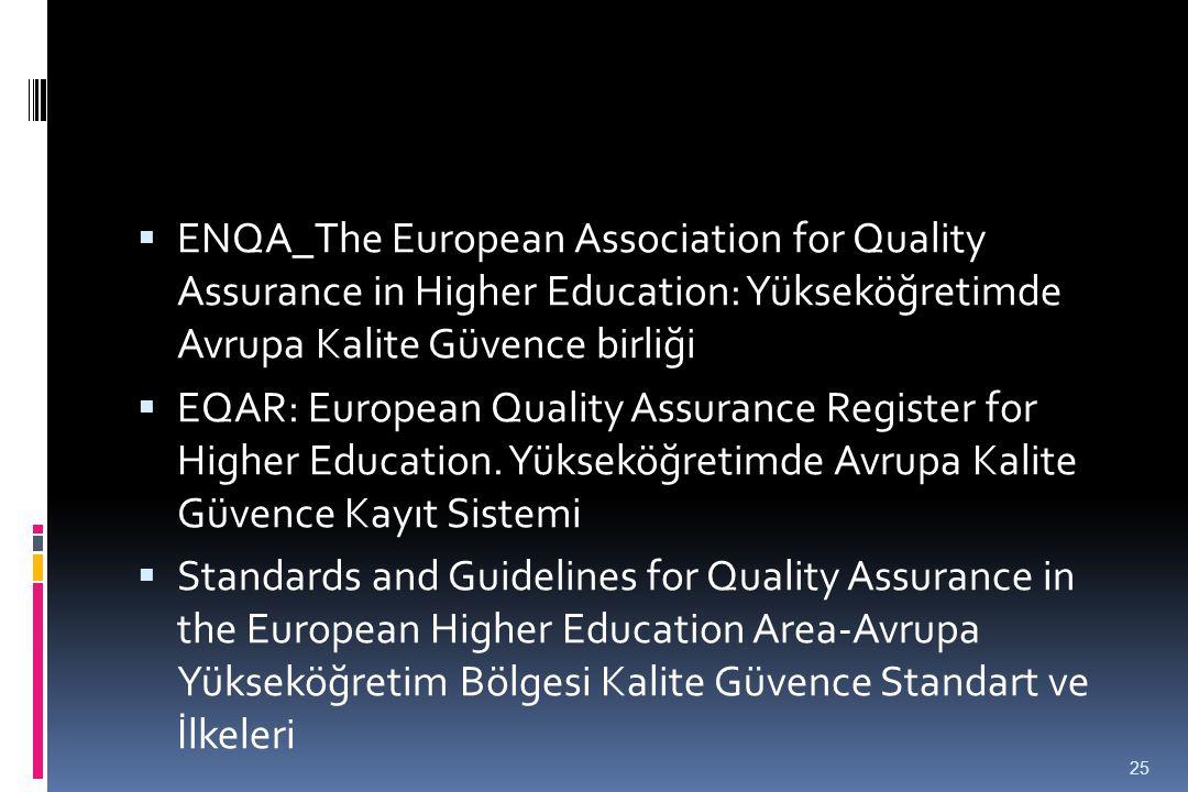  ENQA_The European Association for Quality Assurance in Higher Education: Yükseköğretimde Avrupa Kalite Güvence birliği  EQAR: European Quality Assu