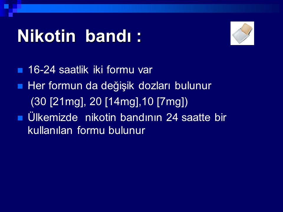 Nikotin bandı : 16-24 saatlik iki formu var Her formun da değişik dozları bulunur (30 [21mg], 20 [14mg],10 [7mg]) Ülkemizde nikotin bandının 24 saatte