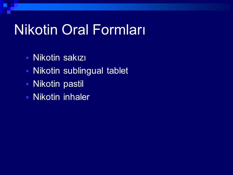 Nikotin Oral Formları  Nikotin sakızı  Nikotin sublingual tablet  Nikotin pastil  Nikotin inhaler