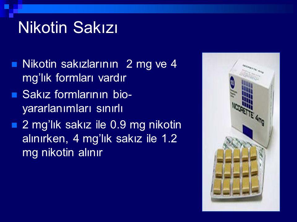 Nikotin Sakızı Nikotin sakızlarının 2 mg ve 4 mg'lık formları vardır Sakız formlarının bio- yararlanımları sınırlı 2 mg'lık sakız ile 0.9 mg nikotin a