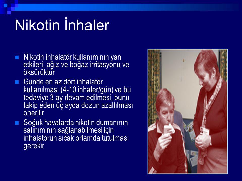 Nikotin İnhaler Nikotin inhalatör kullanımının yan etkileri; ağız ve boğaz irritasyonu ve öksürüktür Günde en az dört inhalatör kullanılması (4-10 inh