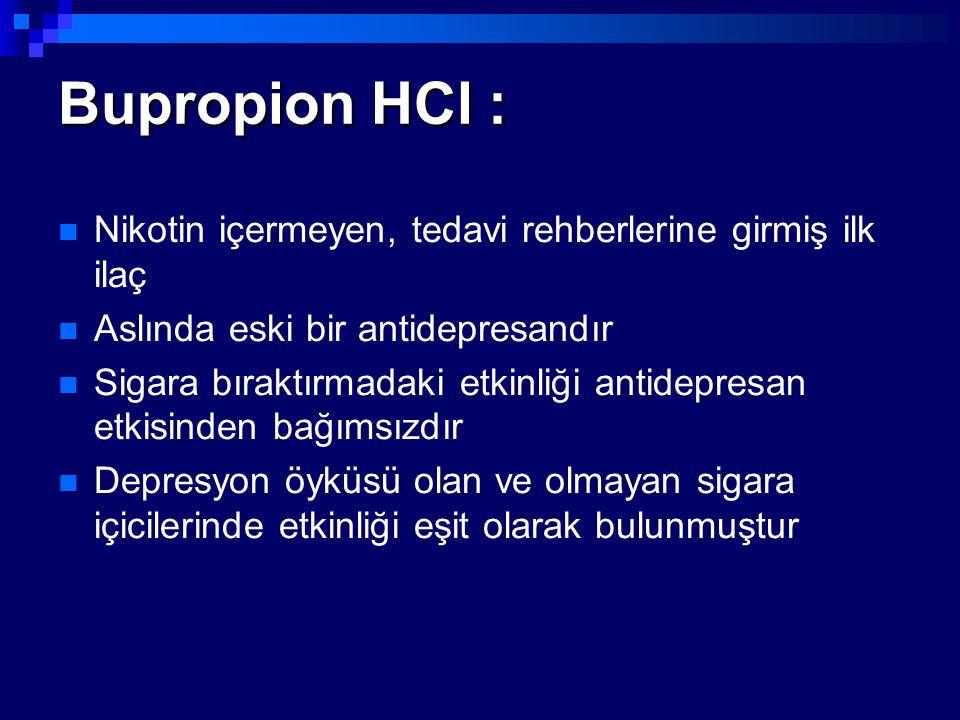 Bupropion HCl : Nikotin içermeyen, tedavi rehberlerine girmiş ilk ilaç Aslında eski bir antidepresandır Sigara bıraktırmadaki etkinliği antidepresan e