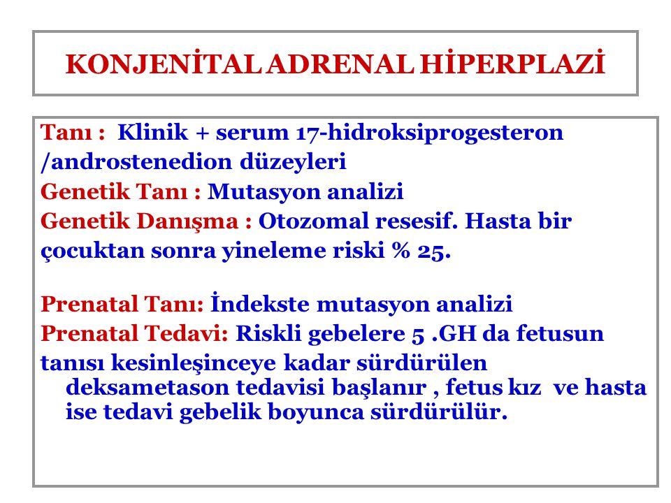 KONJENİTAL ADRENAL HİPERPLAZİ Tanı : Klinik + serum 17-hidroksiprogesteron /androstenedion düzeyleri Genetik Tanı : Mutasyon analizi Genetik Danışma :