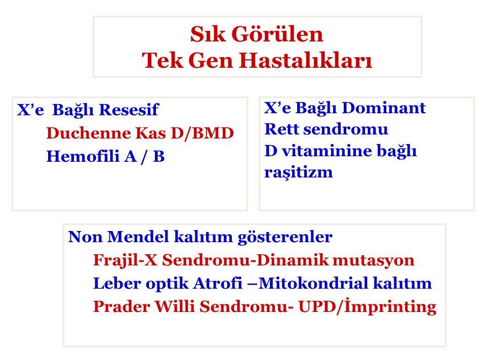 Sık Görülen Tek Gen Hastalıkları X'e Bağlı Resesif Duchenne Kas D/BMD Hemofili A / B X'e Bağlı Dominant Rett sendromu D vitaminine bağlı raşitizm Non