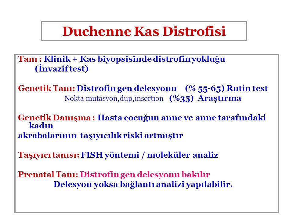 Tanı : Klinik + Kas biyopsisinde distrofin yokluğu (İnvazif test) Genetik Tanı: Distrofin gen delesyonu (% 55-65) Rutin test Nokta mutasyon,dup,insert