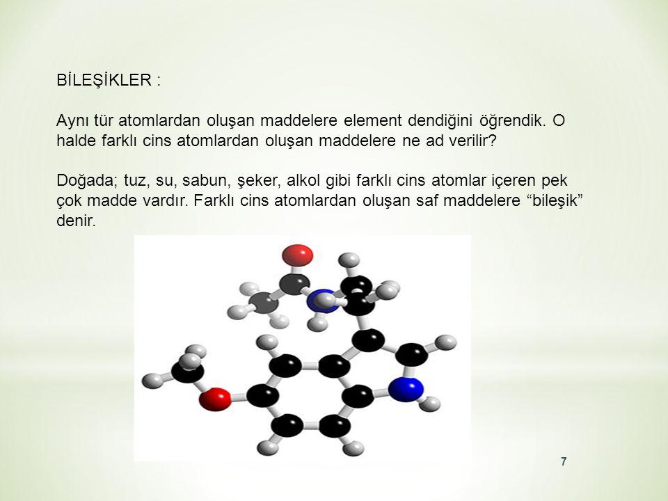 """MOLEKÜLLER : Birden fazla atomun bir arada bulunduğu atom gruplarına """"molekül"""" denir. Moleküller 2'ye ayrılır : Element molekülü Bileşik molekülü 6"""