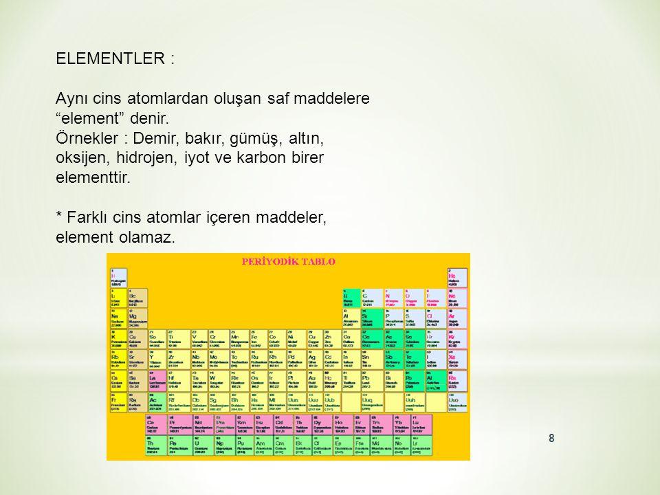 BİLEŞİKLER : Aynı tür atomlardan oluşan maddelere element dendiğini öğrendik. O halde farklı cins atomlardan oluşan maddelere ne ad verilir? Doğada; t