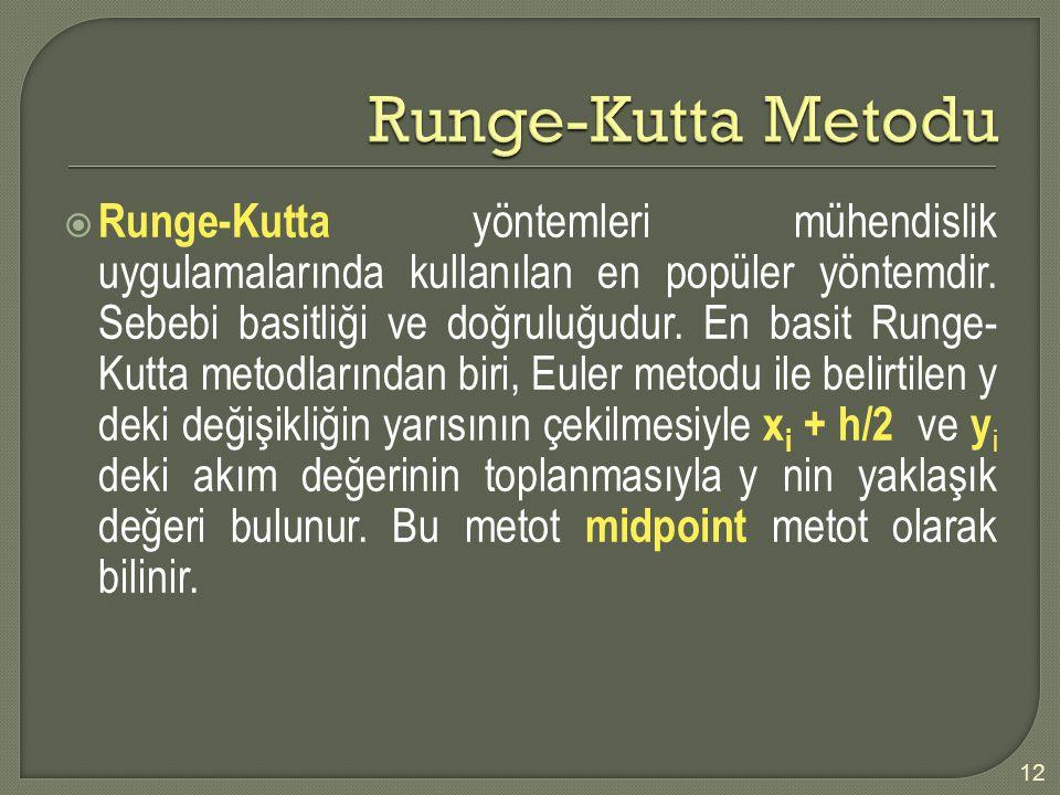  Runge-Kutta yöntemleri mühendislik uygulamalarında kullanılan en popüler yöntemdir. Sebebi basitliği ve doğruluğudur. En basit Runge- Kutta metodlar