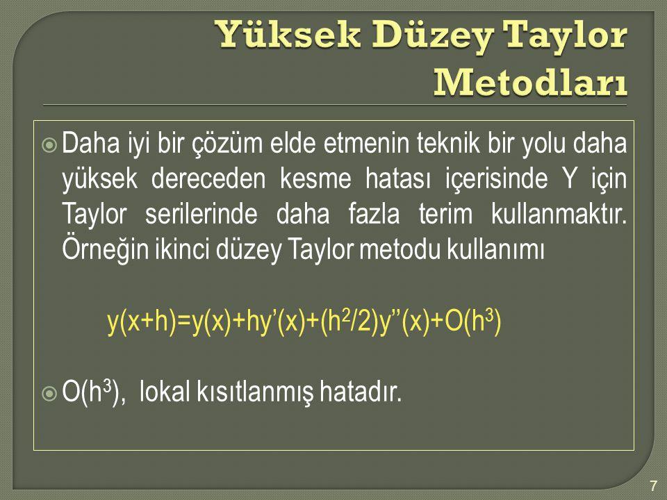  Daha iyi bir çözüm elde etmenin teknik bir yolu daha yüksek dereceden kesme hatası içerisinde Y için Taylor serilerinde daha fazla terim kullanmaktı