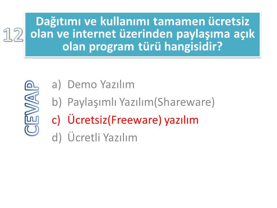 Dağıtımı ve kullanımı tamamen ücretsiz olan ve internet üzerinden paylaşıma açık olan program türü hangisidir? a)Demo Yazılım b)Paylaşımlı Yazılım(Sha