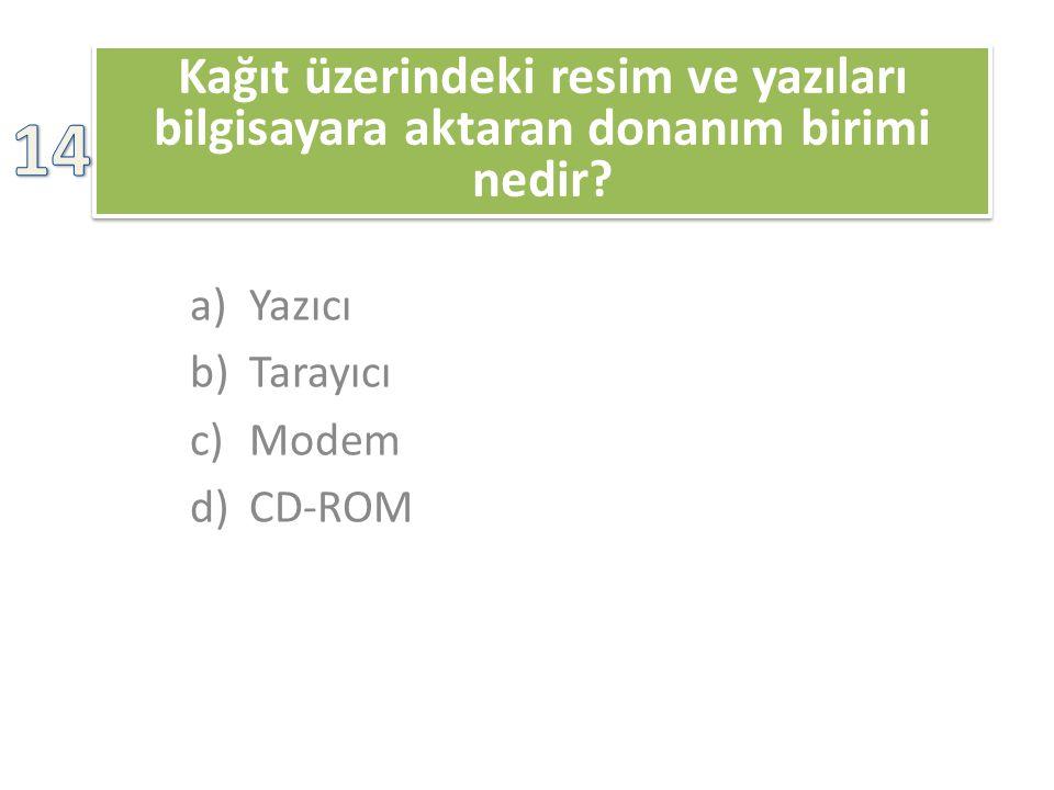 Kağıt üzerindeki resim ve yazıları bilgisayara aktaran donanım birimi nedir? a)Yazıcı b)Tarayıcı c)Modem d)CD-ROM