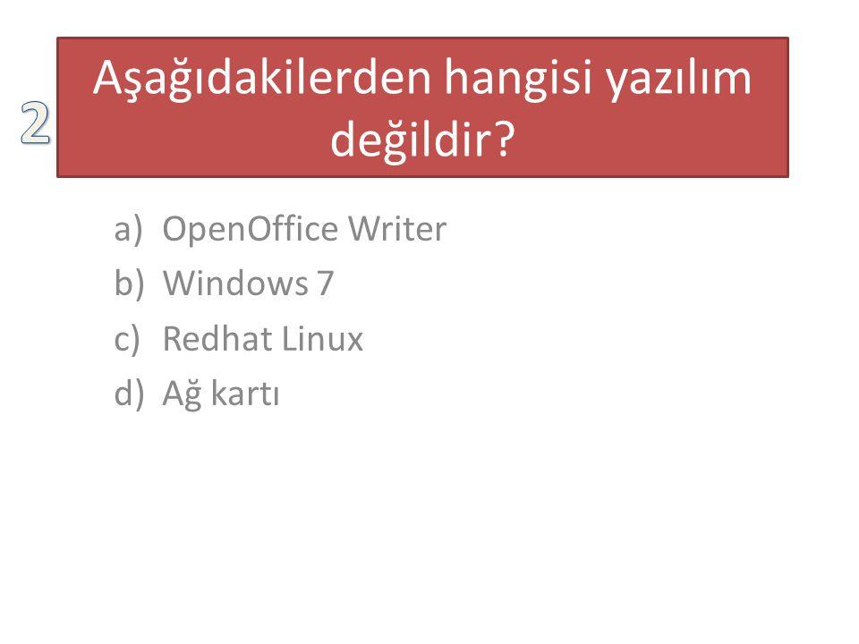 Aşağıdakilerden hangisi yazılım değildir? a)OpenOffice Writer b)Windows 7 c)Redhat Linux d)Ağ kartı