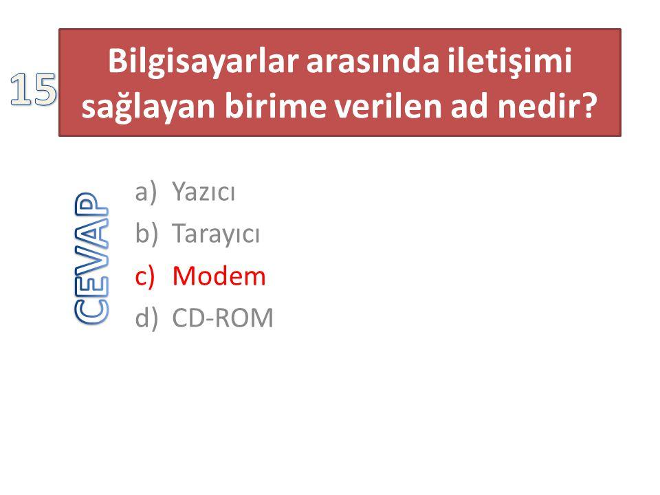 Bilgisayarlar arasında iletişimi sağlayan birime verilen ad nedir? a)Yazıcı b)Tarayıcı c)Modem d)CD-ROM