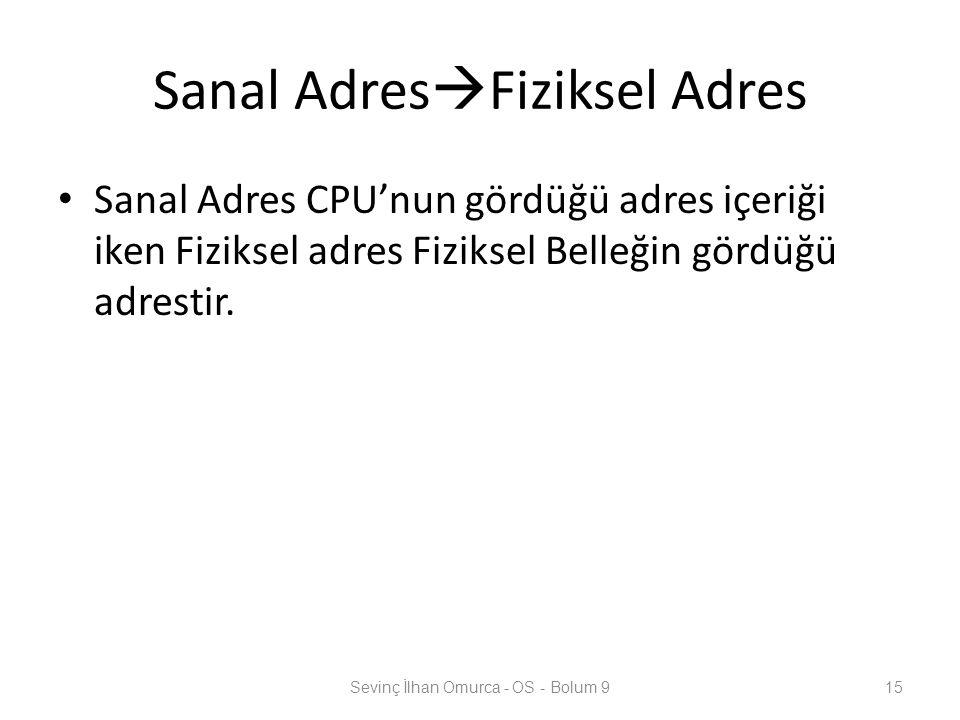 Sanal Adres  Fiziksel Adres Sanal Adres CPU'nun gördüğü adres içeriği iken Fiziksel adres Fiziksel Belleğin gördüğü adrestir. Sevinç İlhan Omurca - O