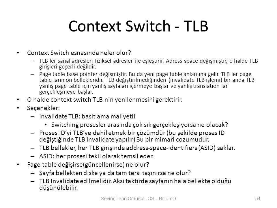 Context Switch - TLB Context Switch esnasında neler olur? – TLB ler sanal adresleri fiziksel adresler ile eşleştirir. Adress space değişmiştir, o hald