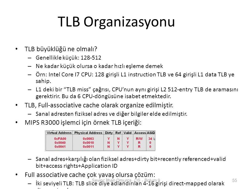TLB Organizasyonu TLB büyüklüğü ne olmalı? – Genellikle küçük: 128-512 – Ne kadar küçük olursa o kadar hızlı eşleme demek – Örn: Intel Core I7 CPU: 12