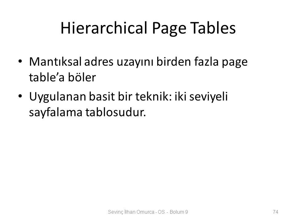 Hierarchical Page Tables Mantıksal adres uzayını birden fazla page table'a böler Uygulanan basit bir teknik: iki seviyeli sayfalama tablosudur. Sevinç