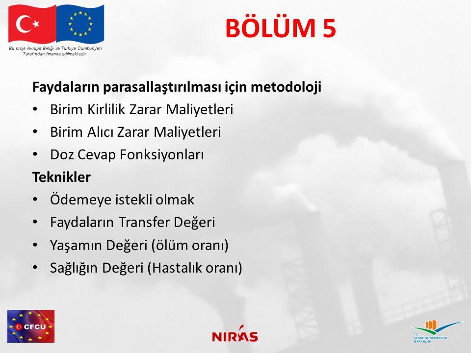 BÖLÜM 5 Faydaların parasallaştırılması için metodoloji Birim Kirlilik Zarar Maliyetleri Birim Alıcı Zarar Maliyetleri Doz Cevap Fonksiyonları Teknikler Ödemeye istekli olmak Faydaların Transfer Değeri Yaşamın Değeri (ölüm oranı) Sağlığın Değeri (Hastalık oranı) Bu proje Avrupa Birliği ile Türkiye Cumhuriyeti Tarafından finanse edilmektedir.