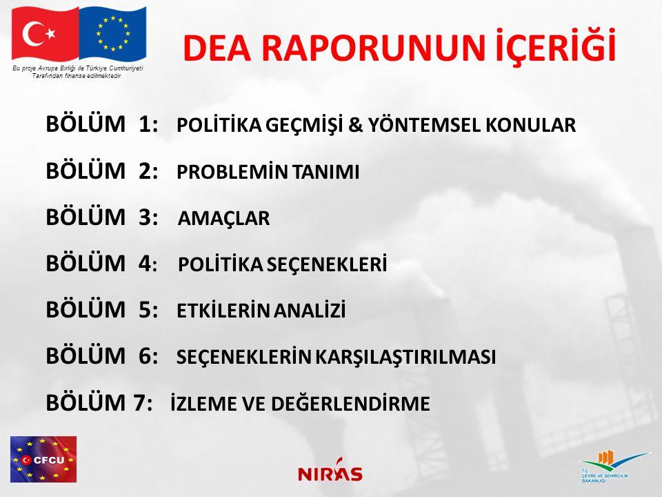 DEA RAPORUNUN İÇERİĞİ Bu proje Avrupa Birliği ile Türkiye Cumhuriyeti Tarafından finanse edilmektedir. BÖLÜM 1: POLİTİKA GEÇMİŞİ & YÖNTEMSEL KONULAR B