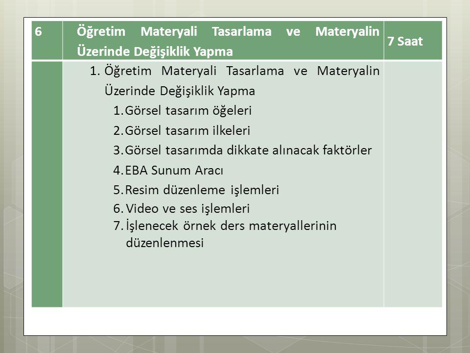 6 Öğretim Materyali Tasarlama ve Materyalin Üzerinde Değişiklik Yapma 7 Saat 1.Öğretim Materyali Tasarlama ve Materyalin Üzerinde Değişiklik Yapma 1.G