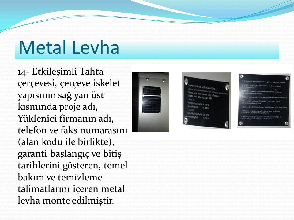 Metal Levha 14- Etkileşimli Tahta çerçevesi, çerçeve iskelet yapısının sağ yan üst kısmında proje adı, Yüklenici firmanın adı, telefon ve faks numaras
