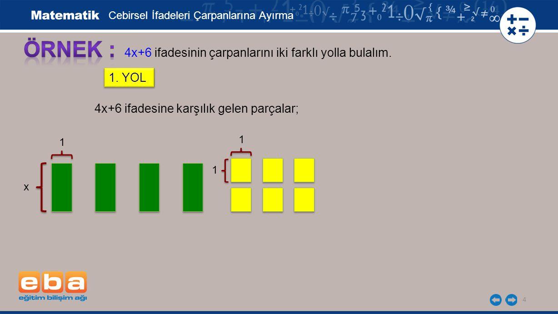 4 4x+6 ifadesinin çarpanlarını iki farklı yolla bulalım.