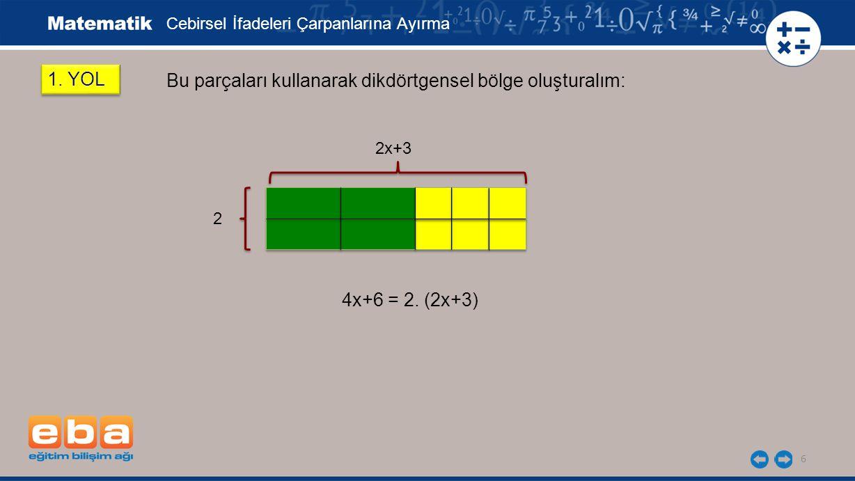 6 Bu parçaları kullanarak dikdörtgensel bölge oluşturalım: 4x+6 = 2.