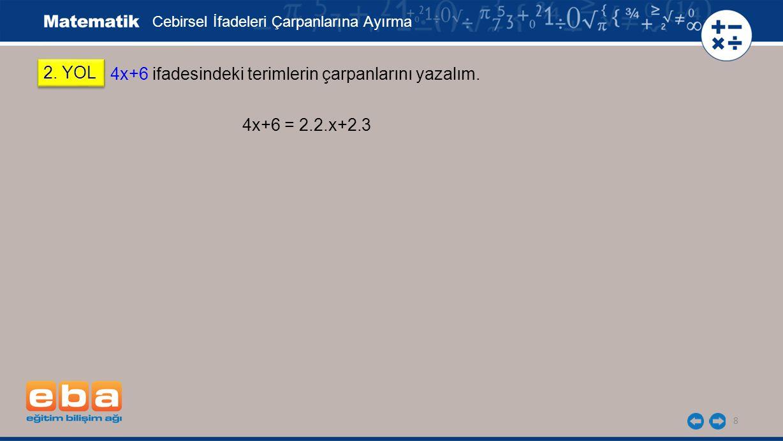 9 4x+6 = 2.2.x+2.3 2.YOL 4x+6 ifadesindeki terimlerin çarpanlarını yazalım.