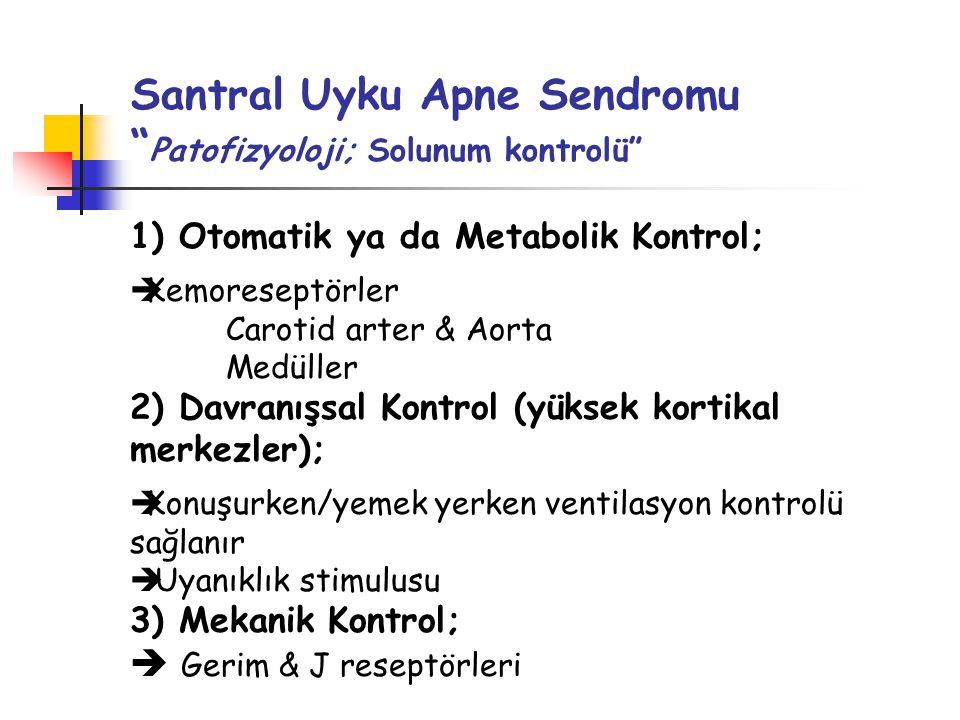 Santral Uyku Apne Sendromu Patofizyoloji; Solunum kontrolü 1) Otomatik ya da Metabolik Kontrol;  Kemoreseptörler Carotid arter & Aorta Medüller 2) Davranışsal Kontrol (yüksek kortikal merkezler);  Konuşurken/yemek yerken ventilasyon kontrolü sağlanır  Uyanıklık stimulusu 3) Mekanik Kontrol;  Gerim & J reseptörleri