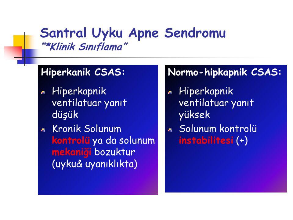 Santral Uyku Apne Sendromu *Klinik Sınıflama Normo-hipkapnik CSAS: Hiperkapnik ventilatuar yanıt yüksek Solunum kontrolü instabilitesi (+) Hiperkanik CSAS: Hiperkapnik ventilatuar yanıt düşük Kronik Solunum kontrolü ya da solunum mekaniği bozuktur (uyku& uyanıklıkta)