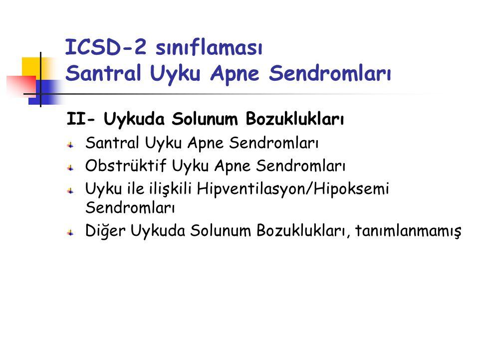 ICSD-2 sınıflaması Santral Uyku Apne Sendromları II- Uykuda Solunum Bozuklukları Santral Uyku Apne Sendromları Obstrüktif Uyku Apne Sendromları Uyku ile ilişkili Hipventilasyon/Hipoksemi Sendromları Diğer Uykuda Solunum Bozuklukları, tanımlanmamış