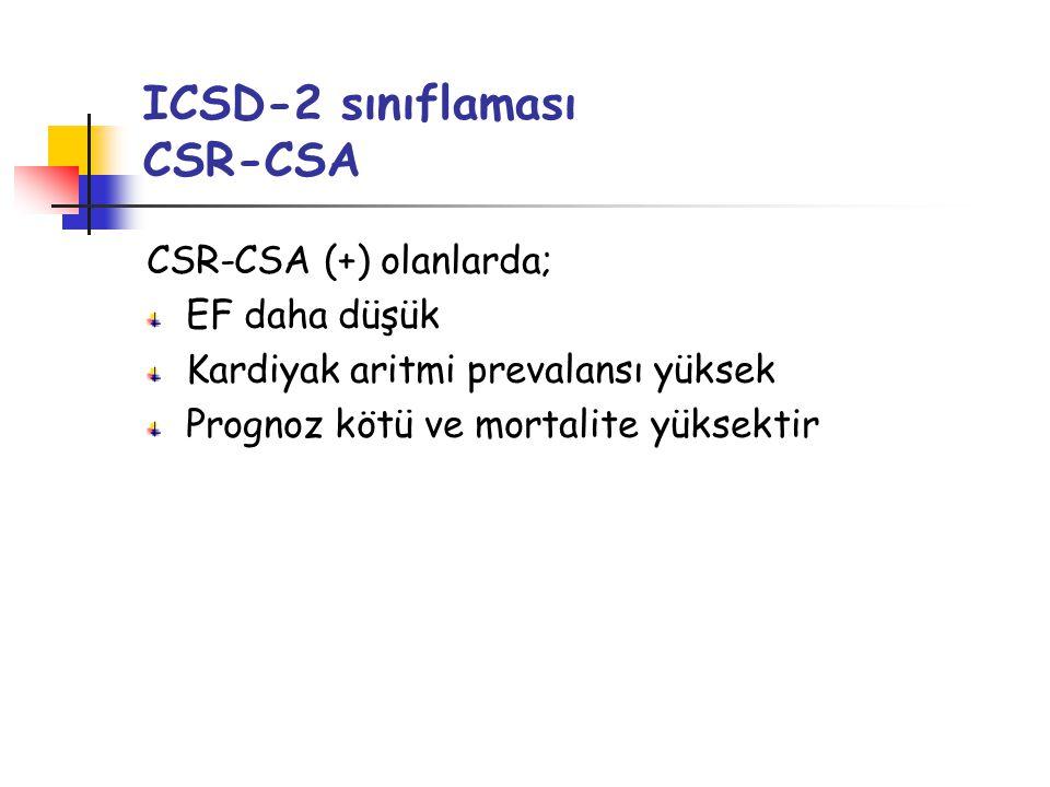 ICSD-2 sınıflaması CSR-CSA CSR-CSA (+) olanlarda; EF daha düşük Kardiyak aritmi prevalansı yüksek Prognoz kötü ve mortalite yüksektir