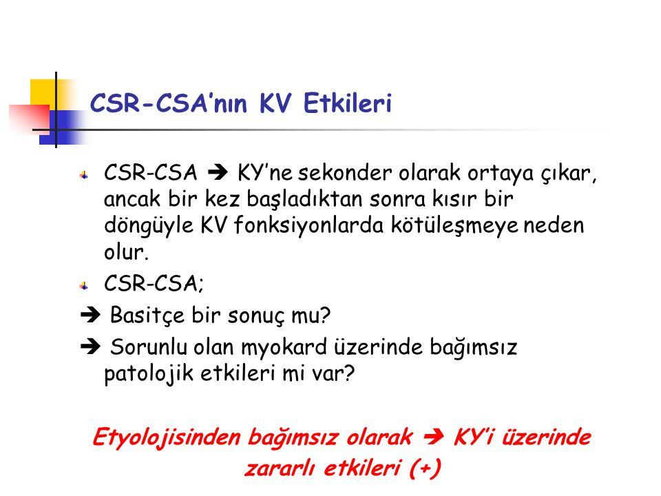 CSR-CSA'nın KV Etkileri CSR-CSA  KY'ne sekonder olarak ortaya çıkar, ancak bir kez başladıktan sonra kısır bir döngüyle KV fonksiyonlarda kötüleşmeye neden olur.
