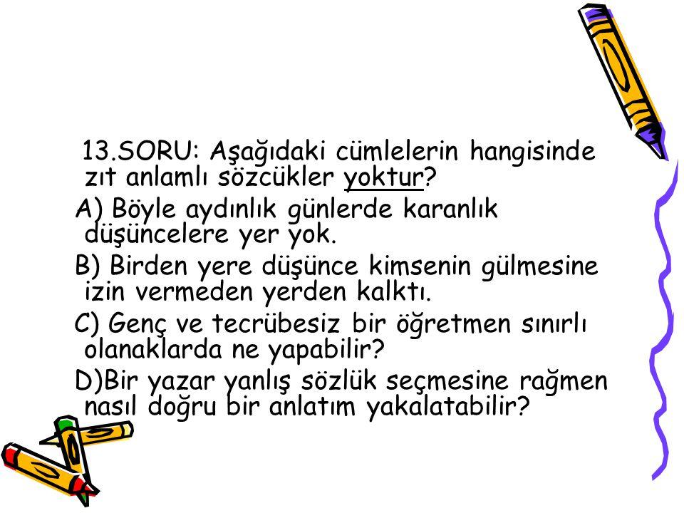 13.SORU: Aşağıdaki cümlelerin hangisinde zıt anlamlı sözcükler yoktur.