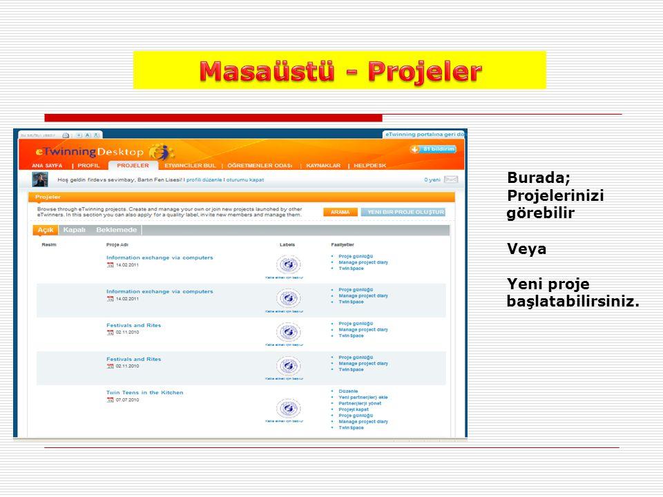 Burada; Projelerinizi görebilir Veya Yeni proje başlatabilirsiniz.