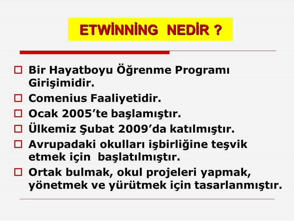 ETWİNNİNG NEDİR ?  Bir Hayatboyu Öğrenme Programı Girişimidir.  Comenius Faaliyetidir.  Ocak 2005'te başlamıştır.  Ülkemiz Şubat 2009'da katılmışt