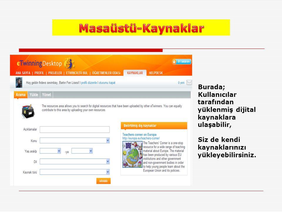 Burada; Kullanıcılar tarafından yüklenmiş dijital kaynaklara ulaşabilir, Siz de kendi kaynaklarınızı yükleyebilirsiniz.