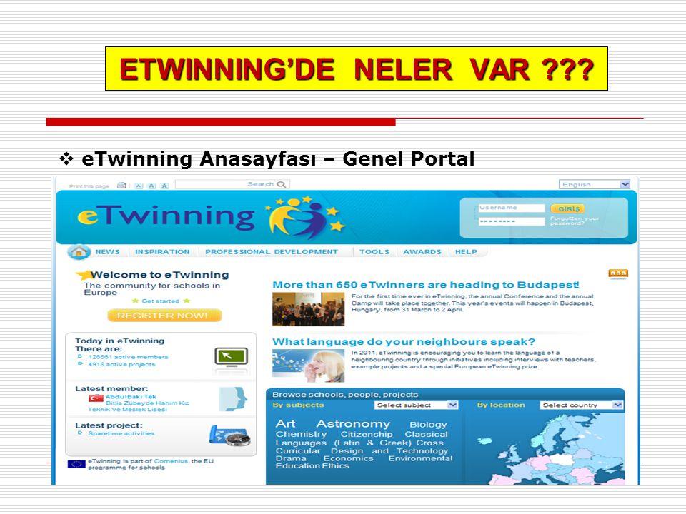 ETWINNING'DE NELER VAR ???  eTwinning Anasayfası – Genel Portal