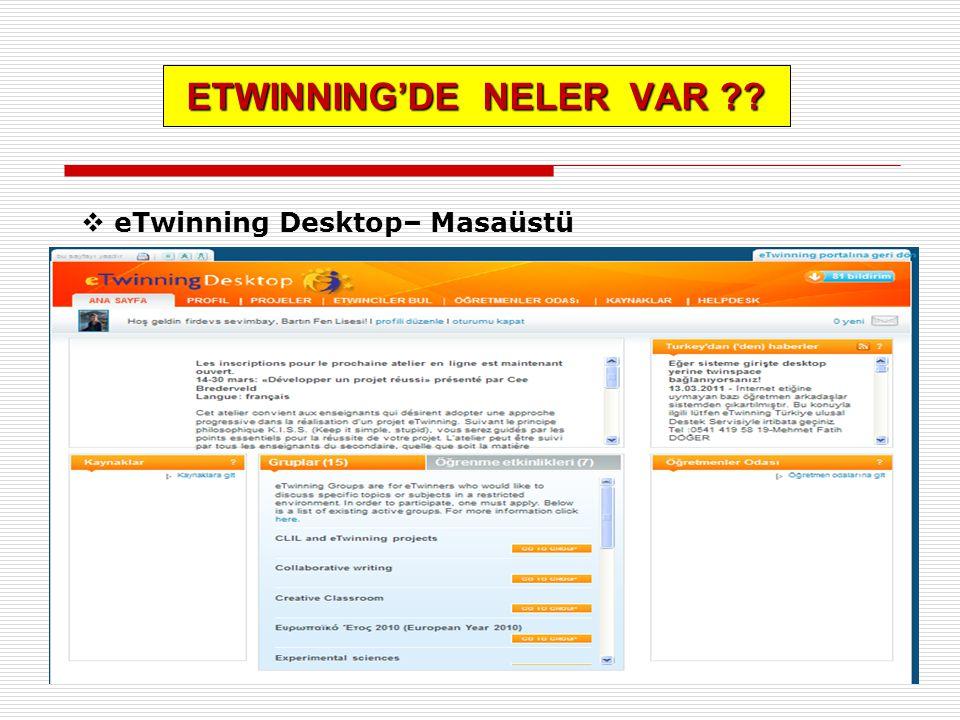 ETWINNING'DE NELER VAR ??  eTwinning Desktop– Masaüstü