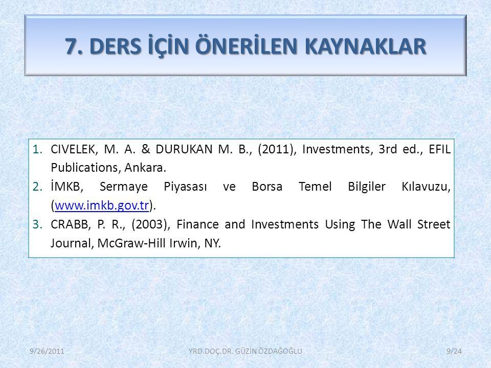 7.DERS İÇİN ÖNERİLEN KAYNAKLAR 1.CIVELEK, M. A. & DURUKAN M.