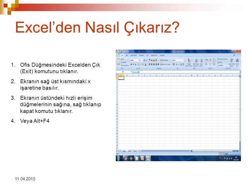 11.04.2015 Excel'den Nasıl Çıkarız.1.Ofis Düğmesindeki Excelden Çık (Exit) komutunu tıklanır.