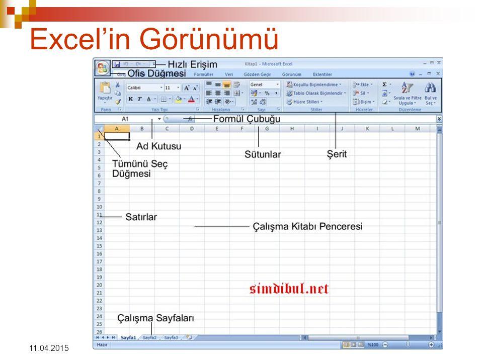 11.04.2015 Excel'in Görünümü